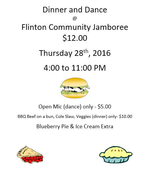 Join Us for the Dinner and Dance at the Flinton Community Jamboree July 28, 2016