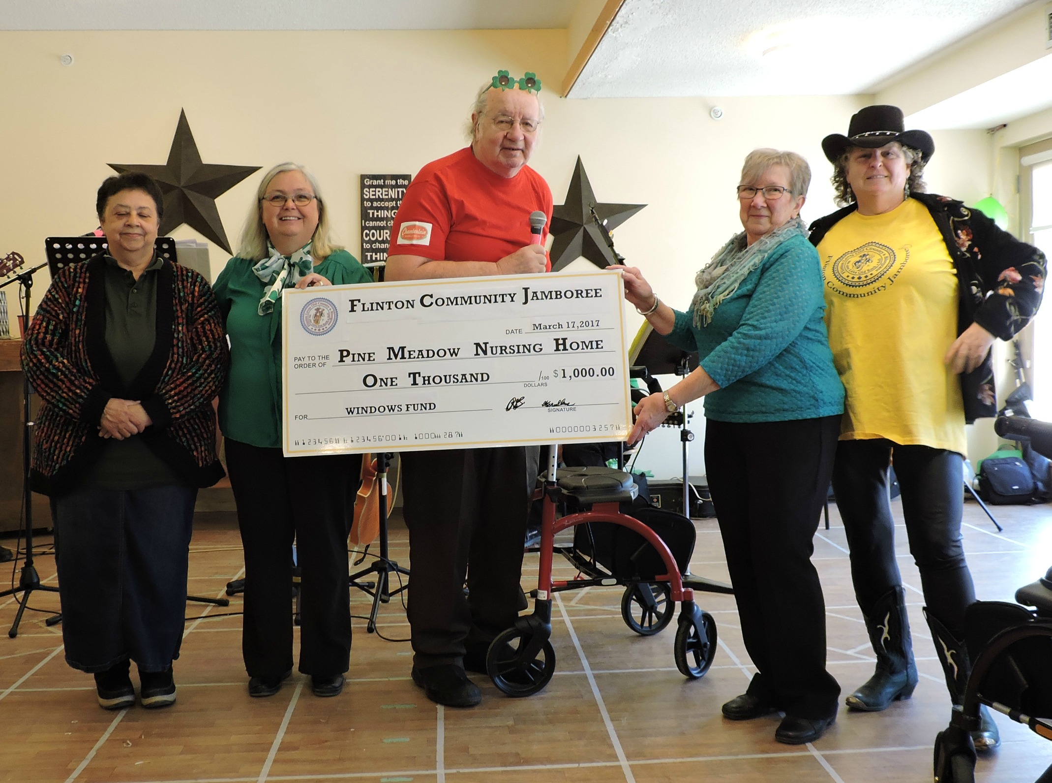 Flinton Community Jamboree Donates $1000 to Pine Meadow Nursing Home