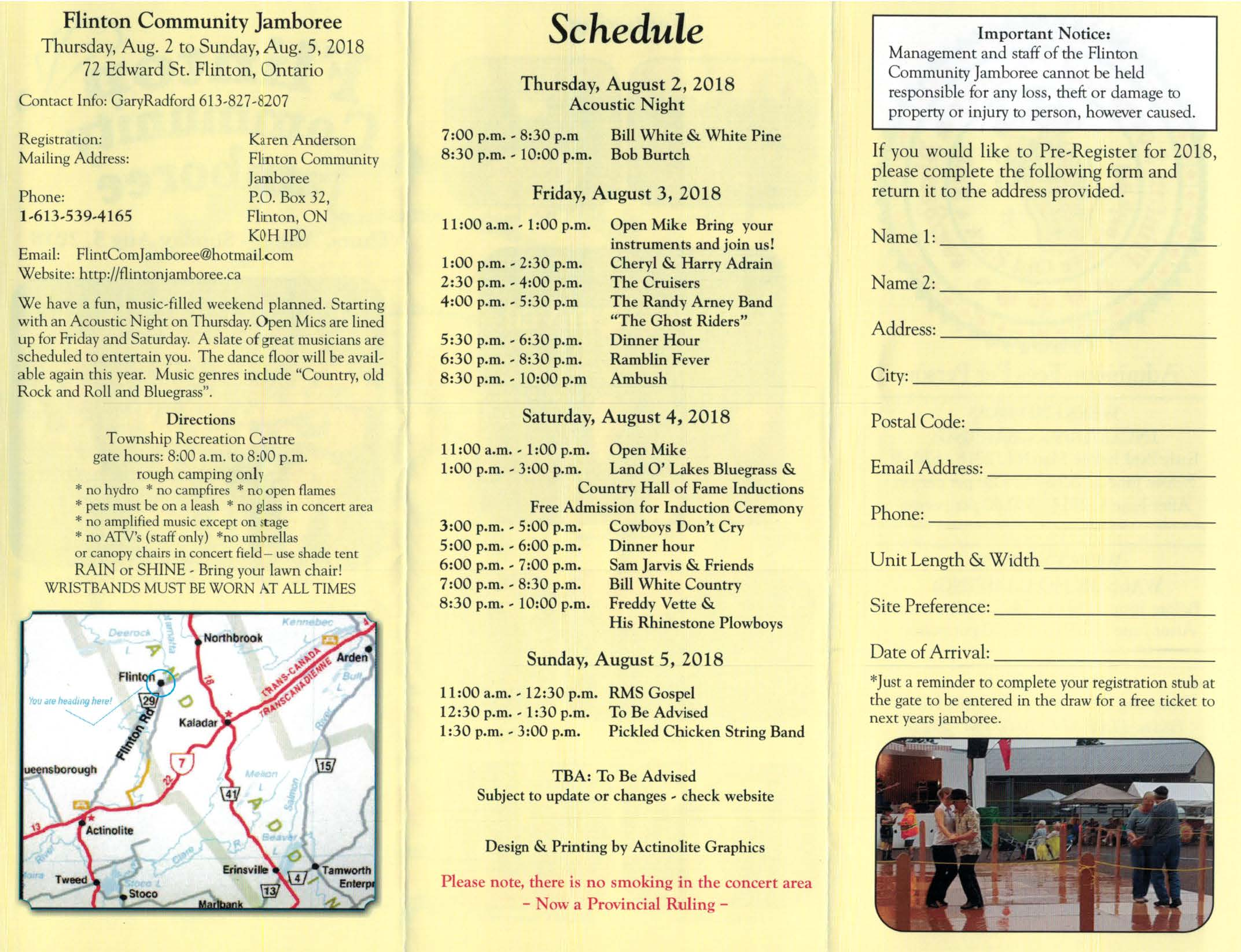 2018 Flinton Community Jamboree Brochure Back